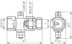 Кран пробковий трьохходовий 11б18бк Ду15 під манометр